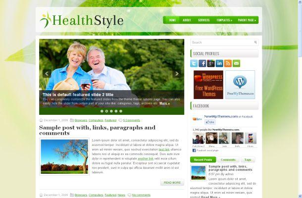 Free Green Health Wordpress Theme Template
