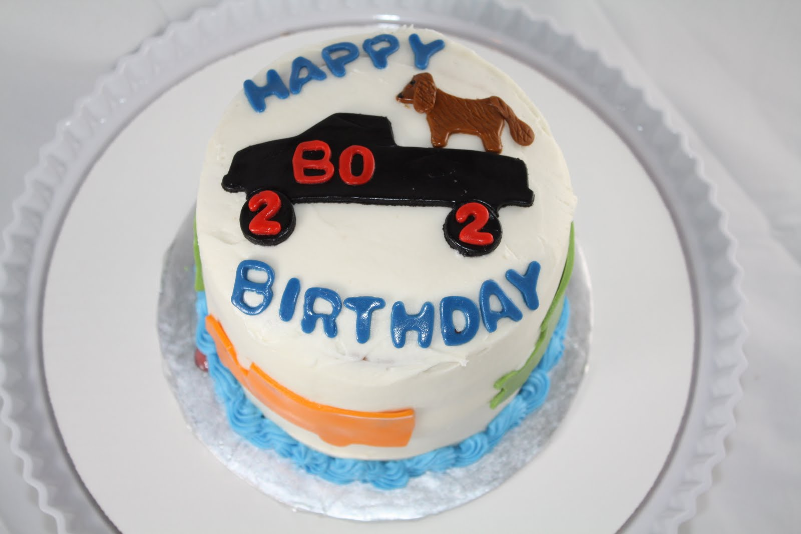 Two Sweet Bakery Cars Truck and dog 2nd birthday cake
