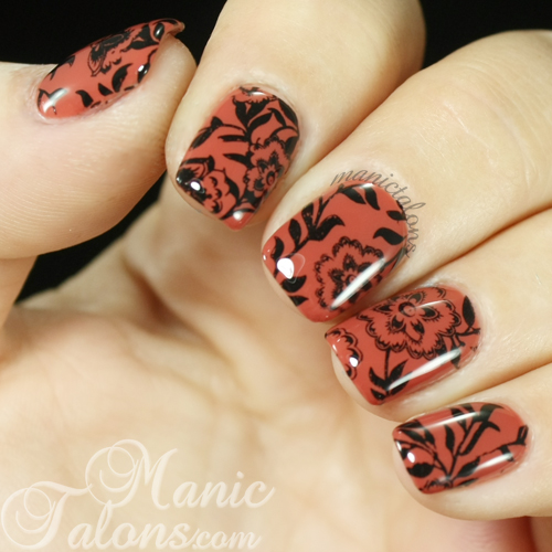 Floral stamped nail art with Bundle Monster BM-717