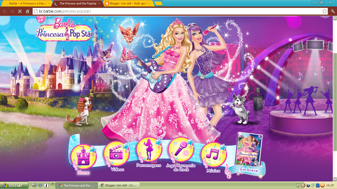 Site Da Barbie Do Filme A Princesa E A Pop Star Do Brasil