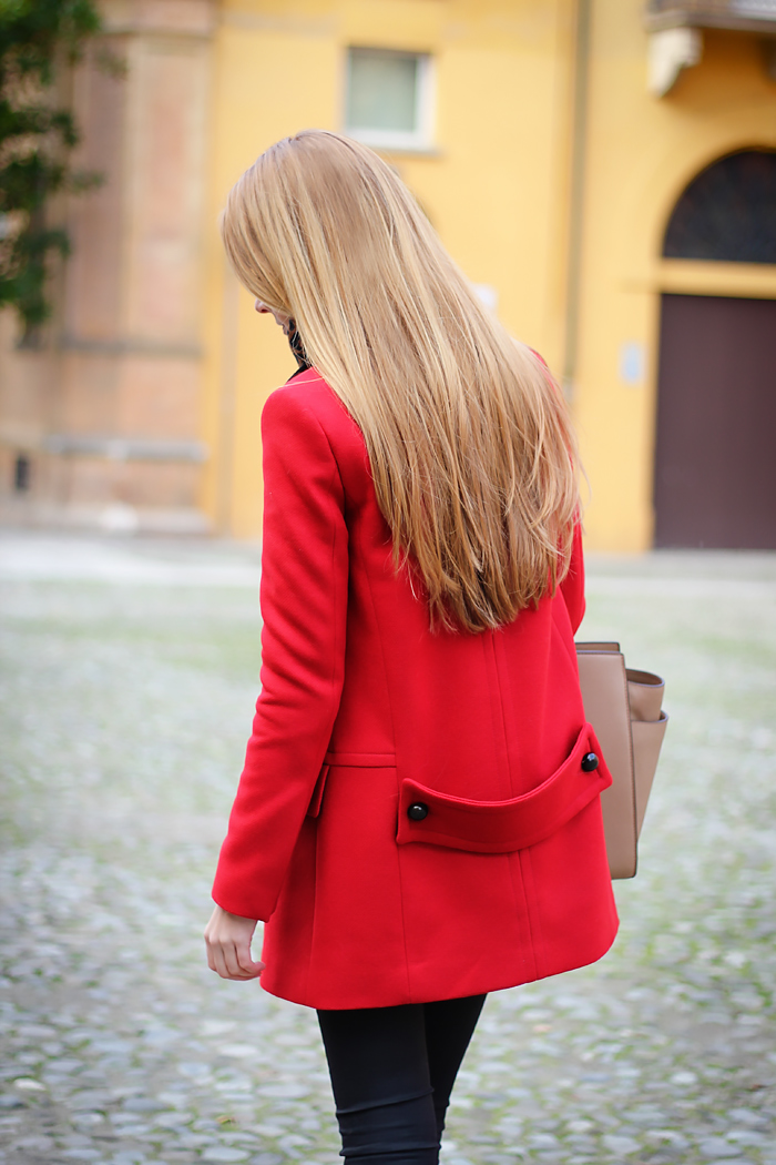 michael kors selma bag, red zara coat, leopard scarf, fall outfit
