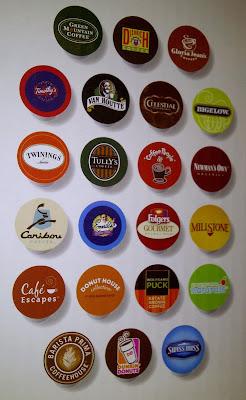 Display of variety of K-cup coffee varieties