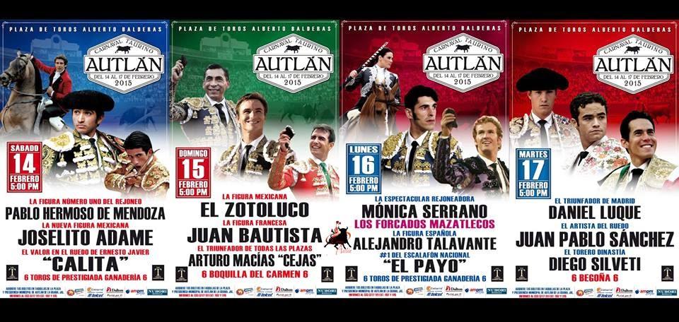 AUTLAN 2015 Corrida completa, con Pablo Hermoso de Mendoza, Joselito Adame, Calita...