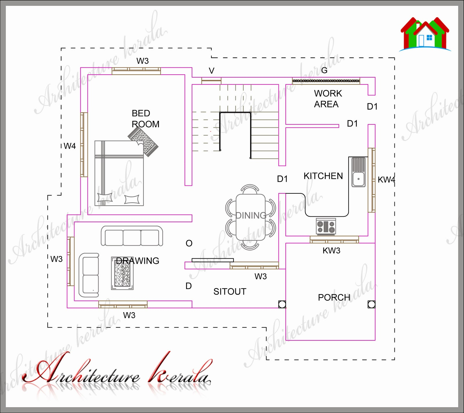 A small kerala house plan architecture kerala for Kerala house plan 3 bedroom