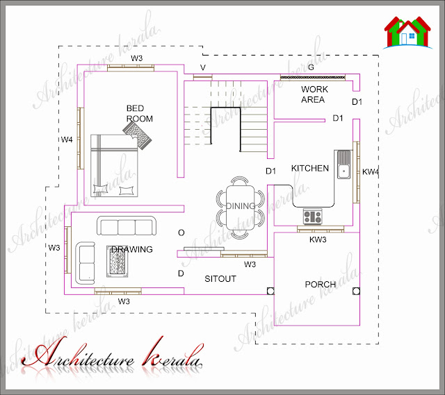 A small kerala house plan architecture kerala Ground floor 3 bedroom plans