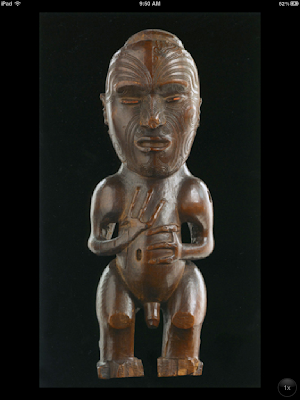 Pou tokomanawa (carved center post), ca 1840, wood and wax - Aotearos (New Zealand), Te Rai Rawhiti and Rongowhataata