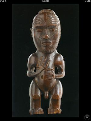 Pou tokomanawa (carved center post), ca 1840, wood and wax - Aotearos (New Zealand), Te Rai Rawhiti and Rongowhataata