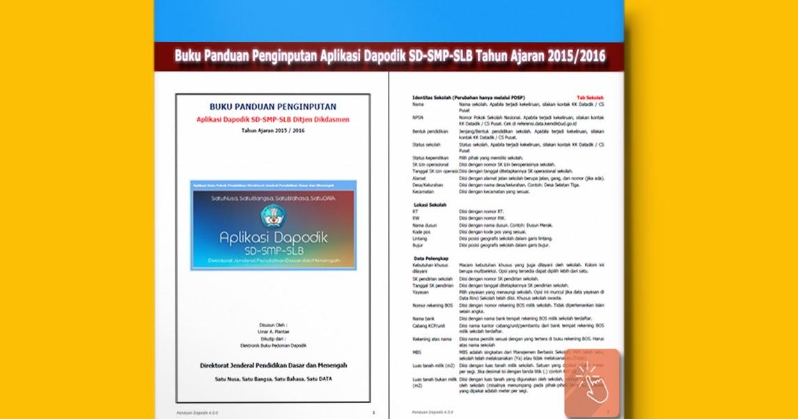 Download Buku Panduan Penginputan Aplikasi Dapodik Sd Smp Slb Terbaru 2015 Blog Wiki Edukasi