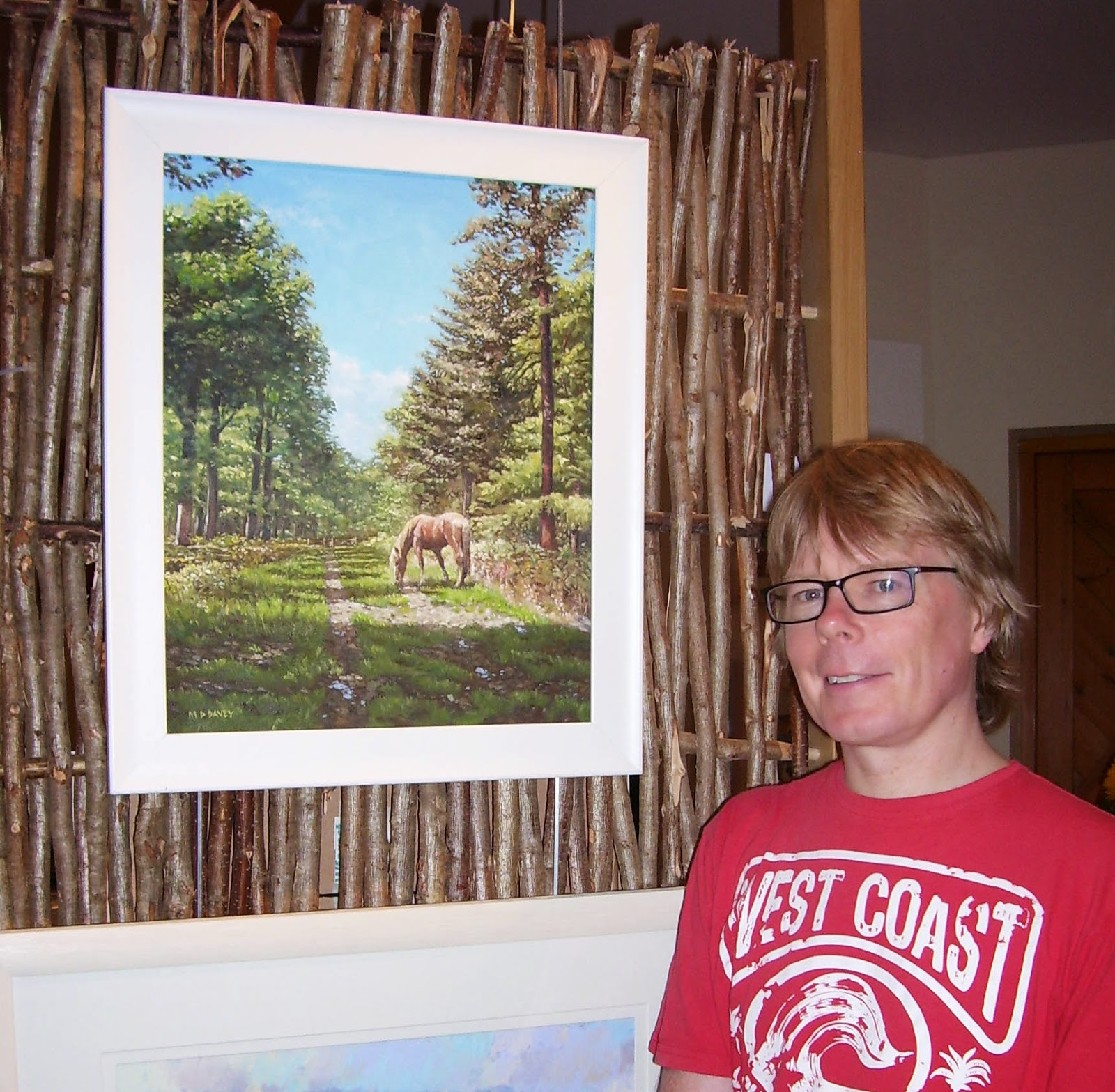Artist Martin Davey with 'Horse in the New Forest' oil painting new forest open art 2014