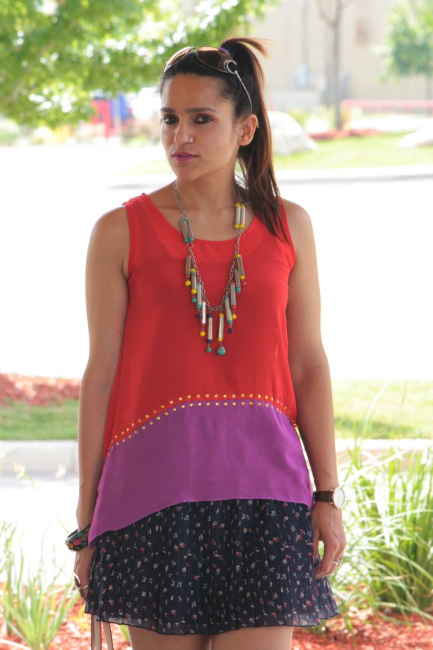 Colorblock top Oasap, Mango Skirt, Michael Kors, Crazy & Co., Tanvii.com