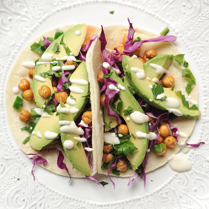 Roasted Chickpea Avocado Tacos Lime Crema Vegan Gluten Free