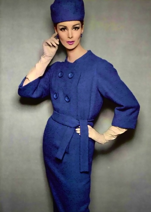 Wilhelmina Cooper ~ 1960s #vintage #winter #blue #1960s #fashion