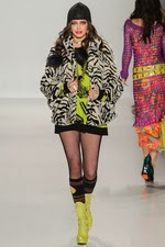 yellow, black, faux fur, zebra stripes, black beanie, new york fashion week