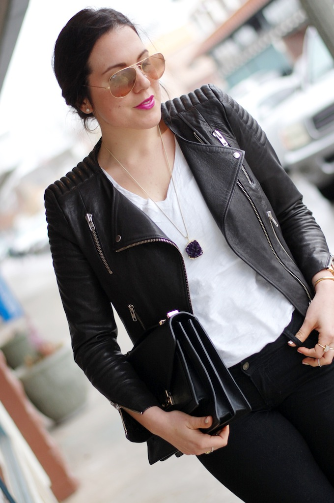 H&M Icons leather jacket Vancouver fashion blogger Aleesha Harris