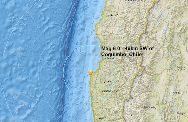 A mag 6.0 - 49km SW of Coquimbo, Chile is the first major quake of October Untitled