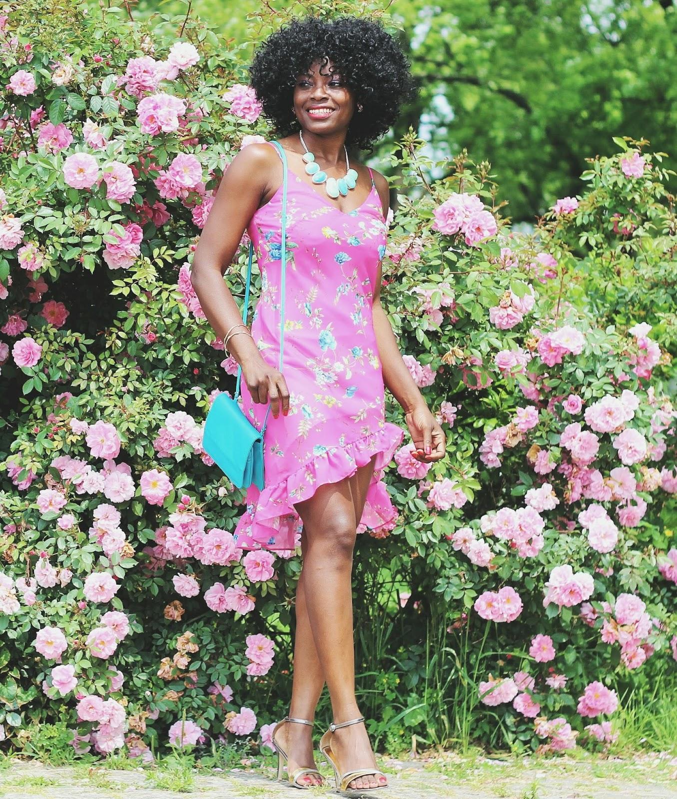 High-low Hemline Floral Print Dress x Victoria Tilloston Brass Thorn Bracelet