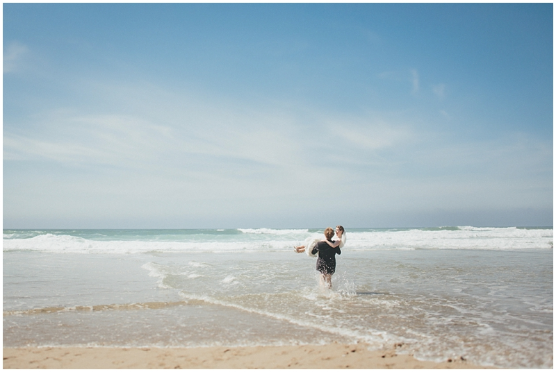 Groom carried bride into the sea