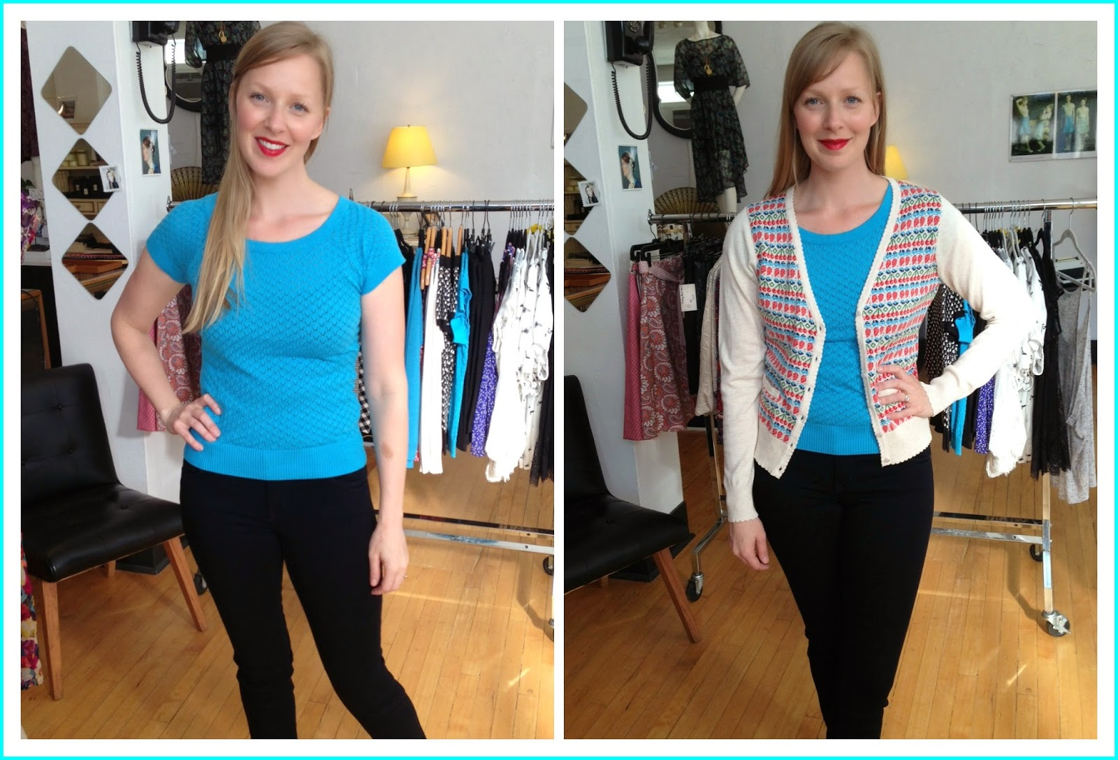 Louie et Lucie zigzag boatneck top ($78), summer fruit v-neck cardigan ($88), Level 99 jeans at Folly