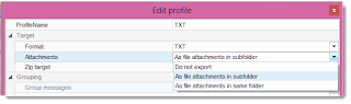 Edit email profile export settings.