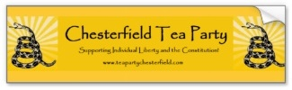 Chesterfield Tea Party Bumper Sticker
