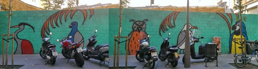 mural anónimo en la calle Séneca de Barcelona