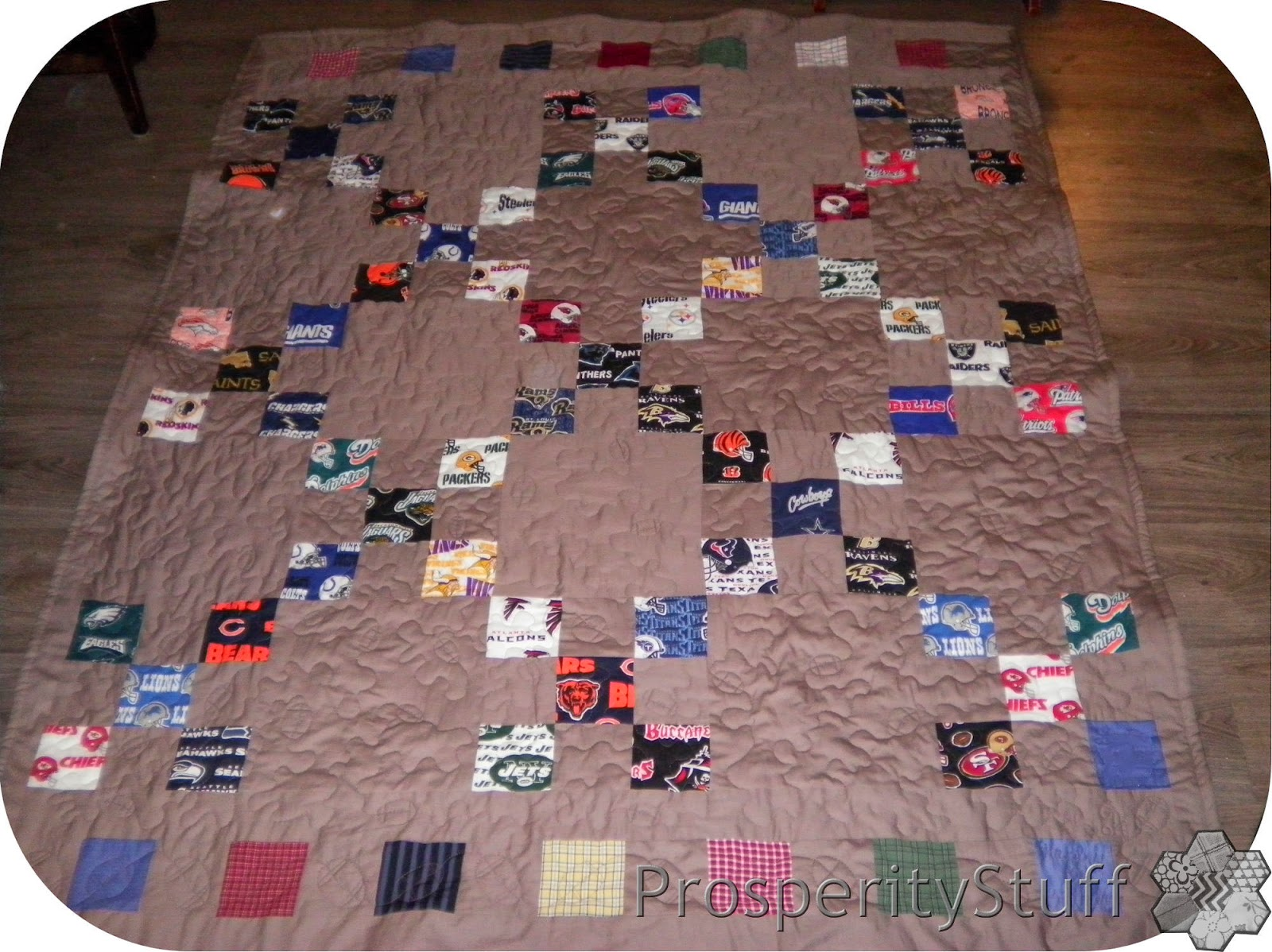 ProsperityStuff NFL Football Quilt, finished