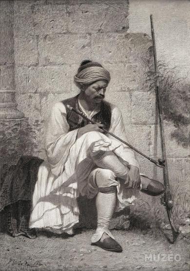 Soldat Albanais fumant le chibouk