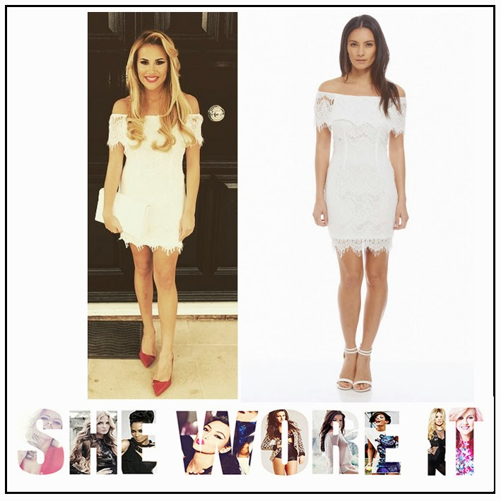 AX Paris, Bodycon, Bright, Dress, Eyelash Lace, Floral Pattern, Georgia Kousoulou, Lace, Mini Dress, Off Shoulder, Overlay, Sheer, The Only Way Is Essex, TOWIE, White, Celebrity Fashion,