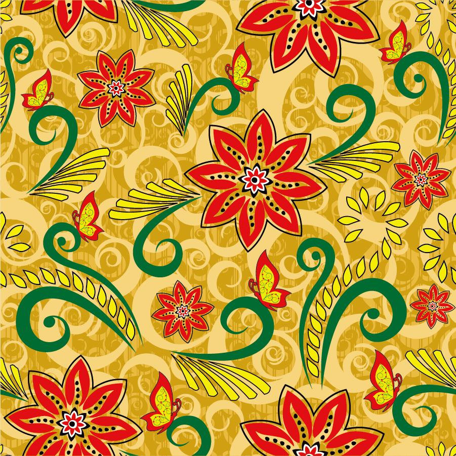 レトロな花柄の背景 Retro Floral Seamless Pattern イラスト素材