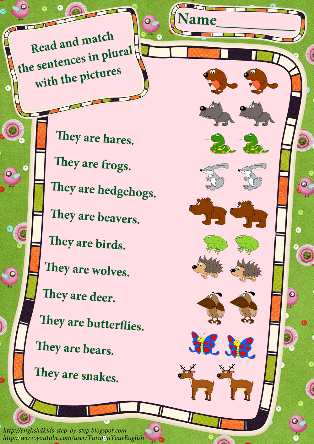 forest animals worksheets