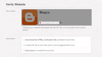 Blogger Siteleri Pinterest'e Onaylatmak