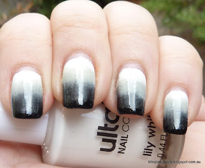 Black and White Gradient Manicure
