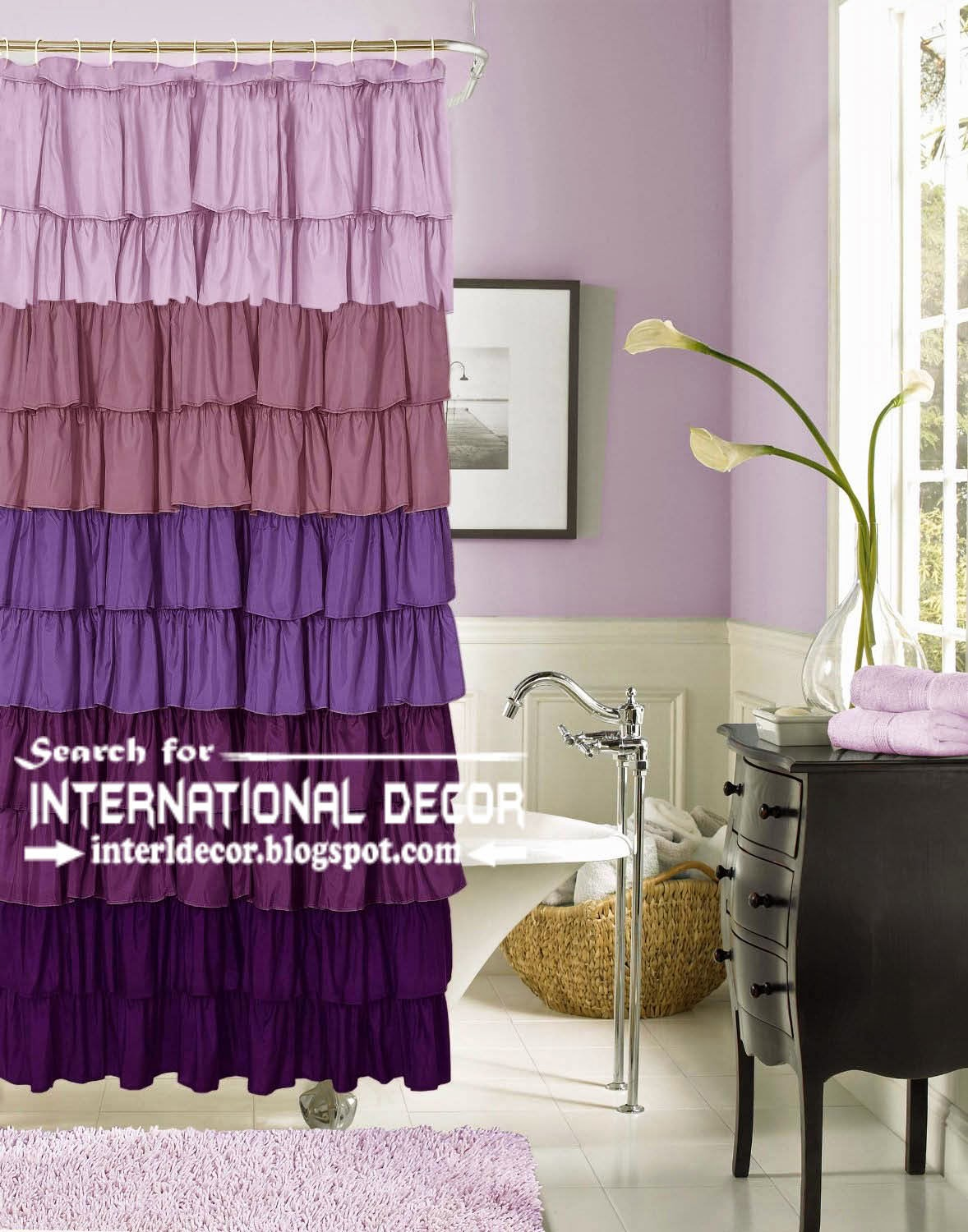 Purple Ruffle shower Curtain style for bathroom, ruffle curtains