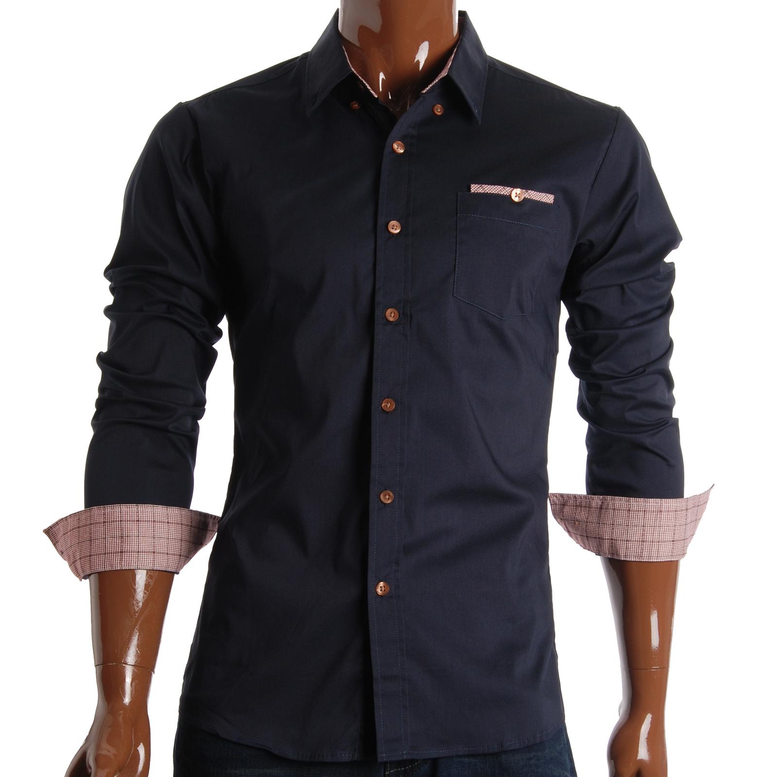 Sh131nv flatseven mens slim fit checker pocket casual for Mens navy dress shirt