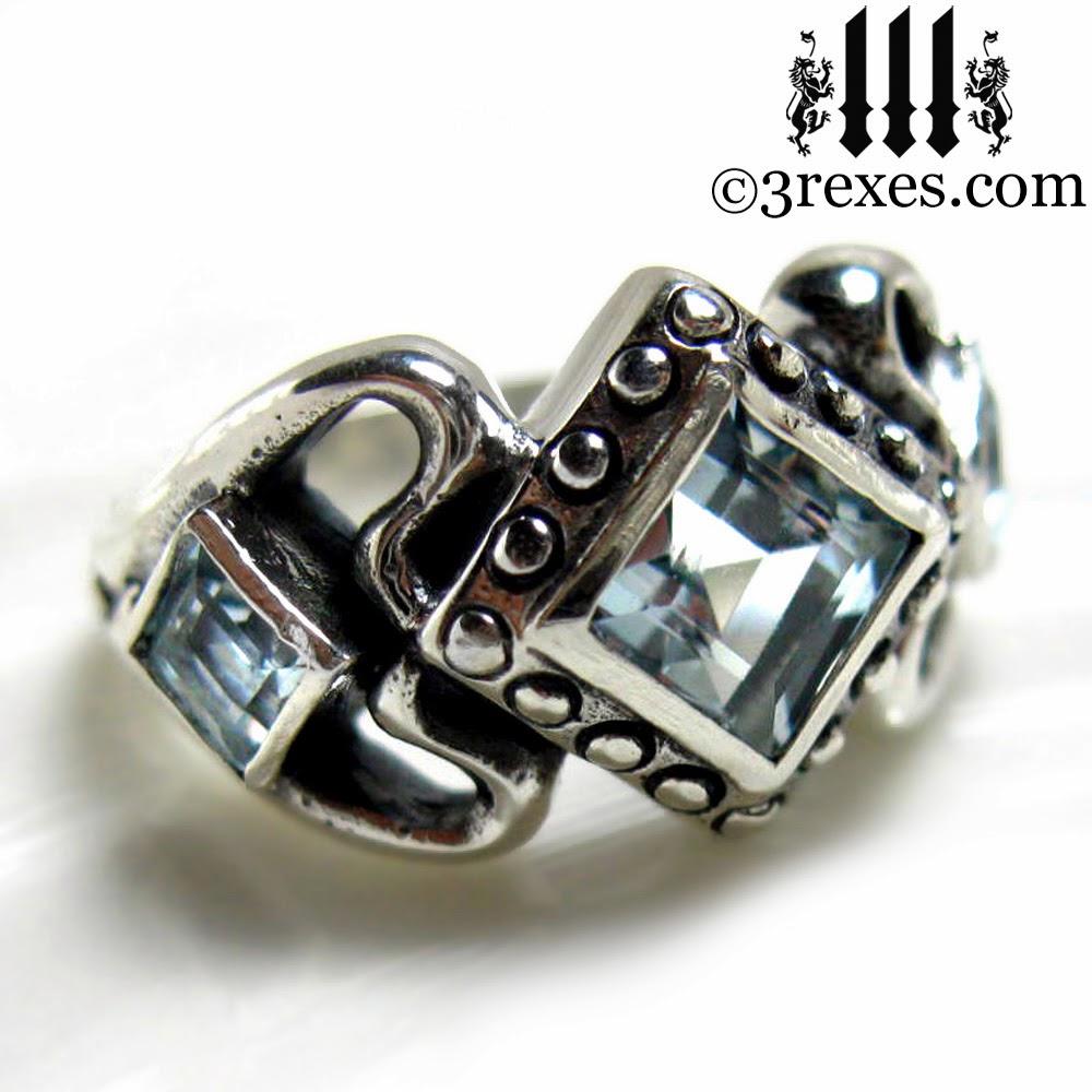 gothic wedding Ring aquamarine stones