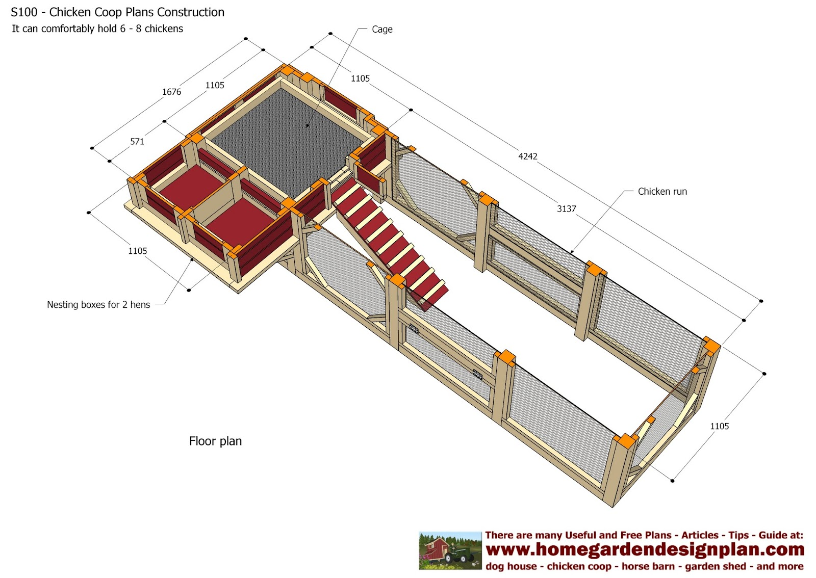 Home garden plans s100 chicken coop plans construction for Chicken coop plans free pdf