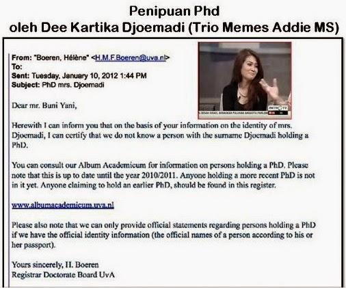 Trionya Memes Addie MS Penipu PhD Universitas Amsterdam Bernama Dee Kartika Djoemadi