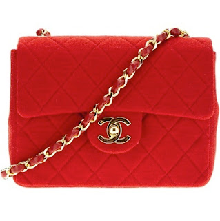 Vintage red Chanel cotton quilted bag with gold hardware and gold chain strap