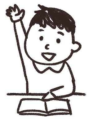 小学生のイラスト「挙手をしている男の子」 白黒線画