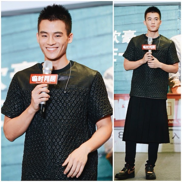 Ou Hao in Alexander Wang Spring Summer 2014 leather bubble t-shirt at Temporary Family MV press conference 3rd August 2014 Beijing China 8月3日 [临时同居] 主题曲 [在一起] MV发布会。欧豪穿着黑色百褶裙出席活动