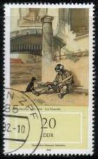 1982年ドイツ民主共和国(旧東ドイツ) 絵画の中の犬の切手