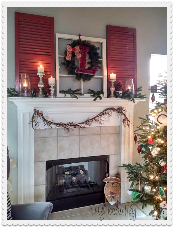 DIY Berry Monogram Wreath and Christmas Mantle at www.diybeautify.com