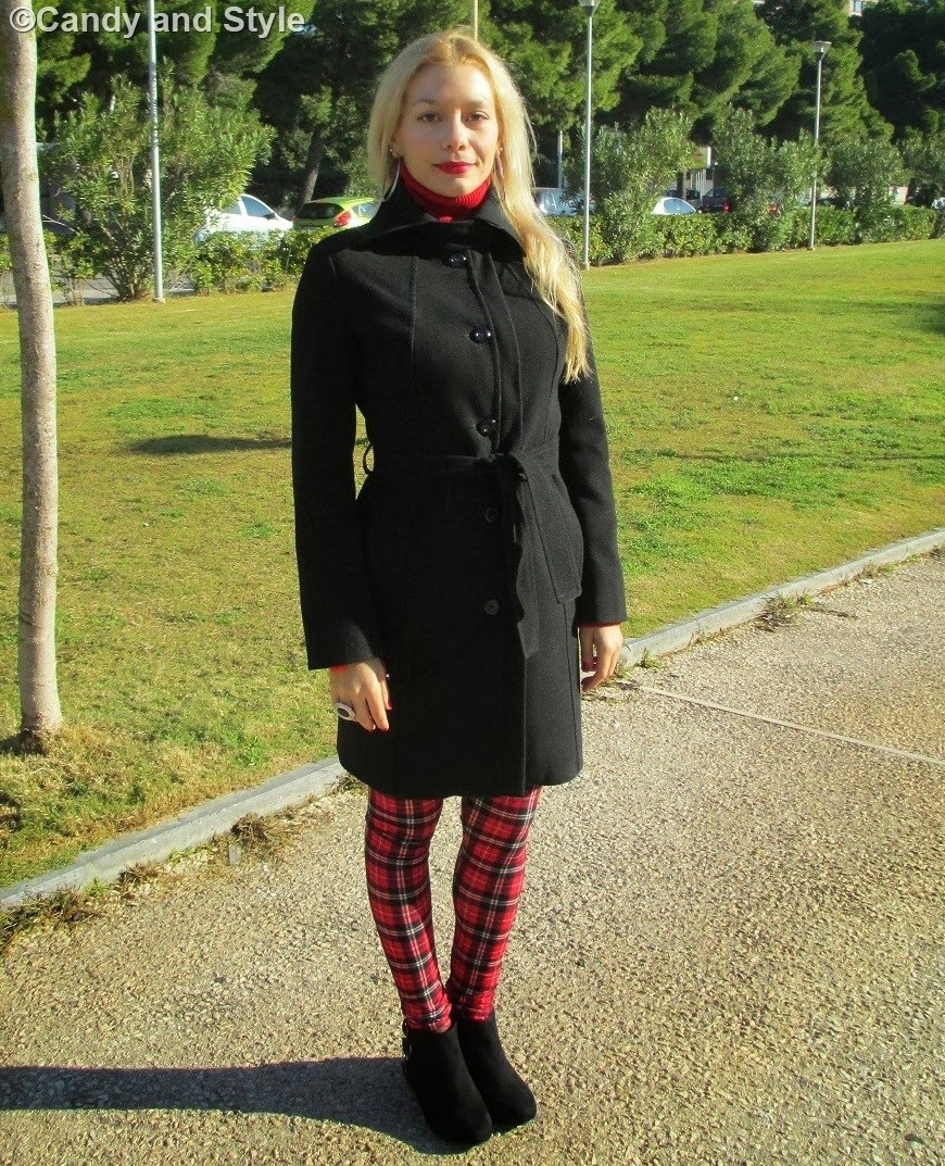 Tartan Leggings and Black Coat - Lilli Candy and Style