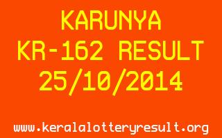 KARUNYA Lottery KR-162 Result 25-10-2014