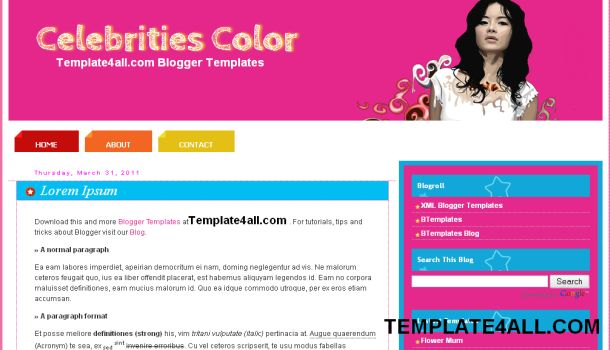 Free Pink Blue Celebrity Blogger Template