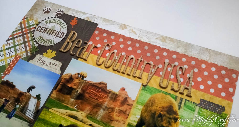 Bear Country USA layout for Sketch N Scrap 2nd Birthday Challenge -- www.MightyCrafty.me