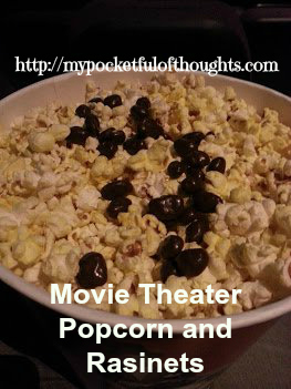 A photos of popcorn and raisenettes