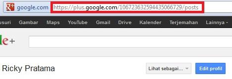 Contoh URL Google Plus