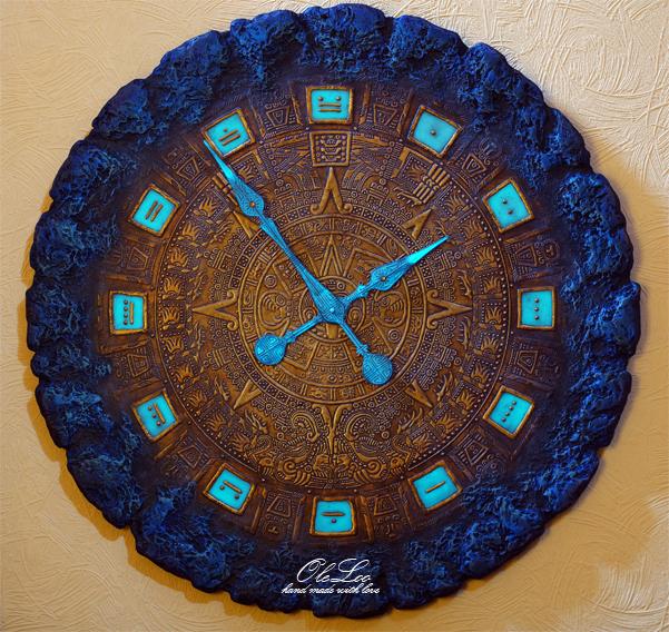 oleloo, ручная работа, большие настенные часы, башенный механизм, календарь майя