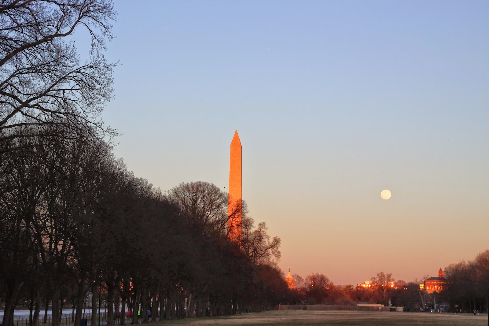 Washington Memorial and the Moon